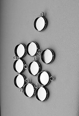 10 x Stainless Steel Round Bezel Pendant Settings, Fit 12mm Cabochons, 5 pair