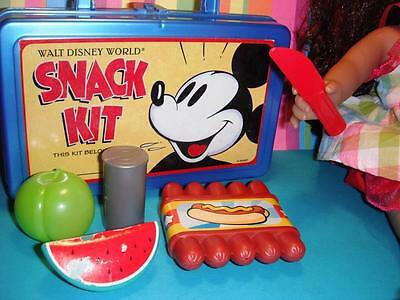 """Disney World Mickey Mouse Lunch Box w/ Play Food fits 16 18"""" American Girl Doll"""