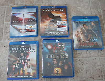 NEW Lot of 5 Marvel DC Blu-ray Movies Batman Captain America Iron Man 2 3 Steel
