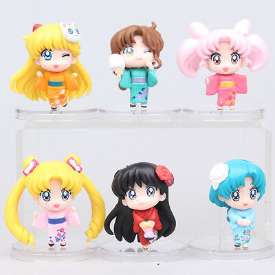 Sailor Moon Tsukino Usagi Mizuno Ami Hino Rei 6 PCS Anime Action Figure Doll Toy