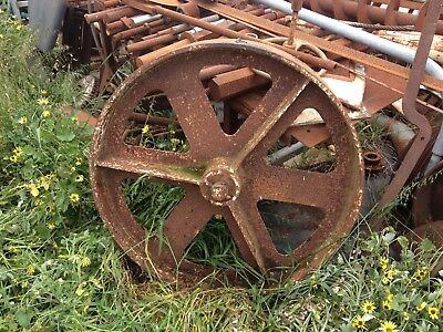 2 Heavy Steel Vintage Wheels Stationary Engine Antique Axles Farm Steam