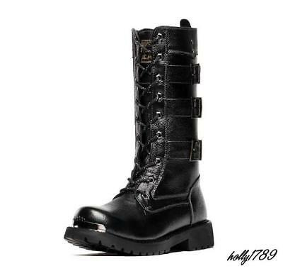Mens Round Toe Punk Mid-Calf Motor Boots Buckle Lace Up Military Black Shoes New