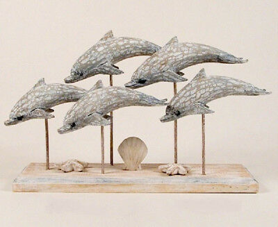 Coastal Art Antiqued School of 5 Dolphins Hand Carved Wood Tabletop Sculpture