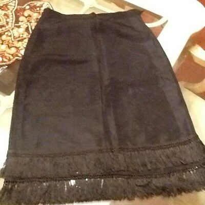 vintage 1950 1960 fringed skirt size small black knee length special event eveni