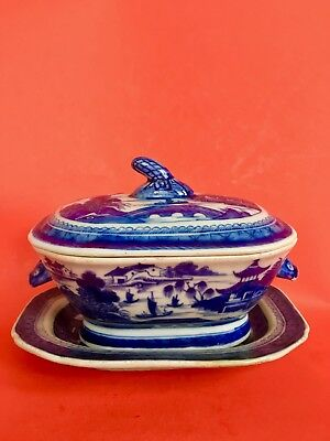 "Chinese Export Blue Canton 6"" Covered Tureen And Under Plate Boar Head Handles"