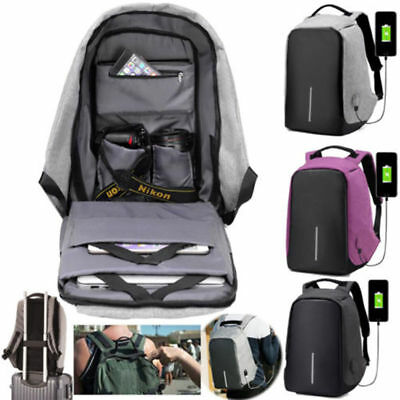 Anti-Theft Water Repellent Backpack USB Port XD Bobby Camera Laptop School Bag #