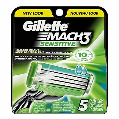 50 X Gillette Mach 3 Sensitive Originali 10 Confezioni Da 5 Lame Ricambio - New