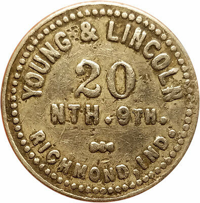 Young & Lincoln Richmond, Indiana IN 5¢ Trade Token Unlisted