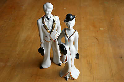 Capodimonte porcelain Man and Lady statuettes