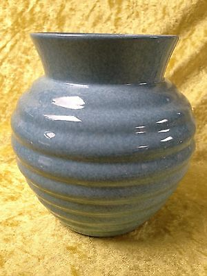 Shelley Ribbed Mottled Blue Glaze Vase