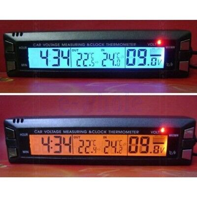 Outside Inside 12V LCD Car Temperature Thermometer Alarm Auto Digital Clock EW