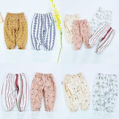 Summer Baby Girls Floral Pattern Pants Kid Elastic Band Loose Harem Trouser Cute