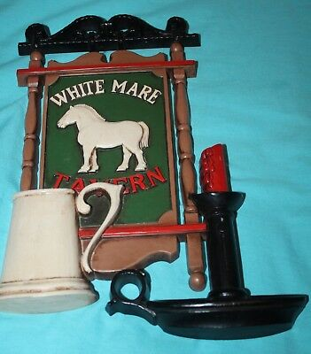 Syroco White Mare Tavern Wall Plaque Sign Pub Art  Bar Beer Horse Tankard