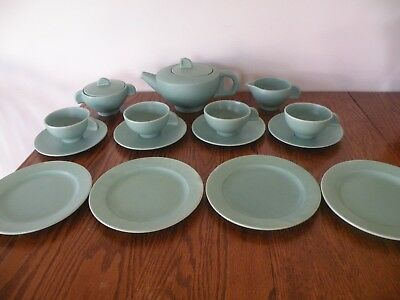 Eva Zeisel Schramberg Ceramic Teapot,SUGAR,CREAMER CUPS SAUCERS AND PLATES 15