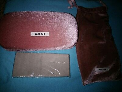 Miu Miu - LARGE Hard Case - Pink Velvet - Sun/Eyeglasses -100% Authentic RG7A