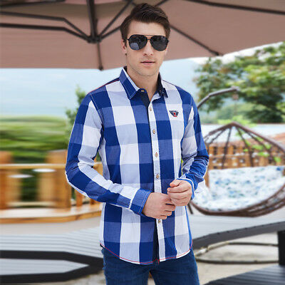 Mens Casual Shirts Long Sleeve Regular Fit Plaid Shirts Cotton Dress Shirts Tops