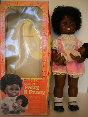 "PATTY & PENNY(working) black windup musical lullaby 19""and 6 1/2"" dolls with box"