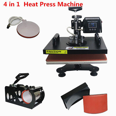 "4 In 1 Heat Press Transfer Sublimation Machine 12""X15"" Stamping Printing 1.2KW"
