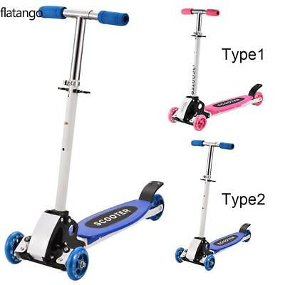 Childrens Kick Push Kids T Bar Tilt And Turn Mini Scooter Up 3 Wheel Toy
