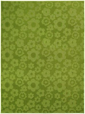 New Garland Rug Flowers Area Rug 5 Feet By 7-Feet Lime Polypropylene Mat House