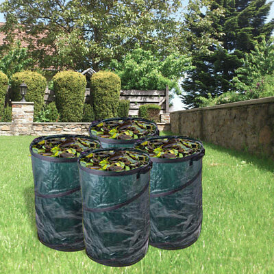 4 x Garden Rubbish Bag 120 litre Pop Up Green Handles Ø 450 X 750 MM For Lawn