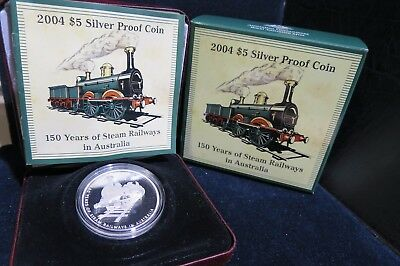 2004 RAM 1oz $5 Silver Proof Coin 150 Years of Steam Railways in Australia