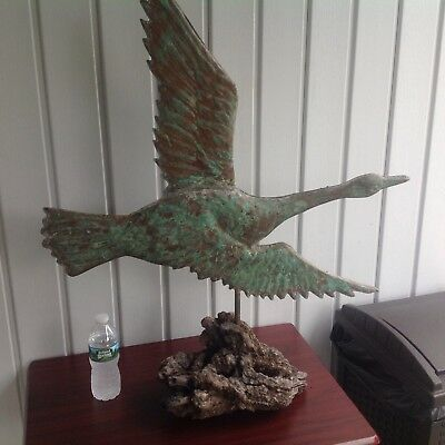 Vintage Copper Weather Vane Large Flying Goose Sculpture On Burled Drift Wood