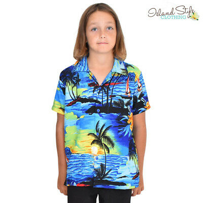 Blue Sunset Boys Hawaiian Shirts Fancy Dress