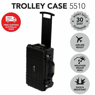 Utility Trolley Hard Case Black Protective Travel Camera Drone Waterproof