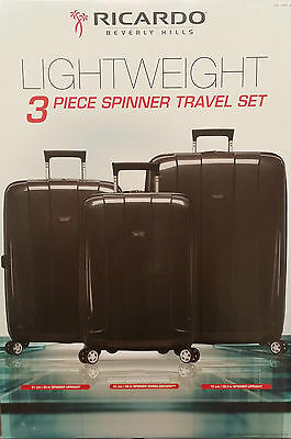 Ricardo Beverly Hills 3 Piece Polypropylene Spinner Luggage Travel Suitcase Bags