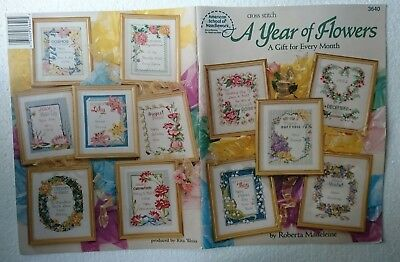 CROSS STITCH PATTERN BOOK 'A YEAR OF FLOWERS' No.3640 - FRAME designs - LOOK!