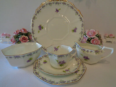 Royal Doulton Trio, Cake Plate, Jug & Sugar Bowl - Decorated With Violets