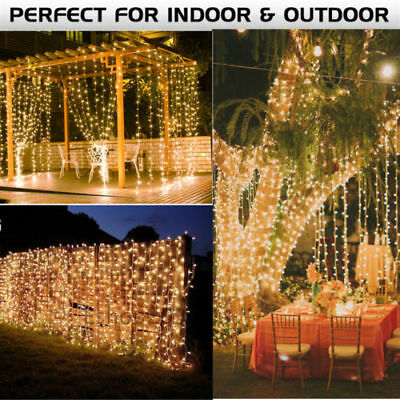 300/600 Led Curtain Fairy String Lights Wedding Outdoor Christmas Garden Party