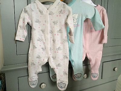 M&S (Me To You - Tiny Tatty Teddy) Girls 0-3 Months Baby Grow Set