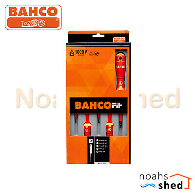 BAHCO 1000V VDE Insulated Electricians Screwdriver Set Kit Slotted Phillips 5 PC