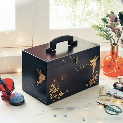 Disney Tinker Bell Wood Sewing Box Housewife Storage Case Bag from Japan E4079
