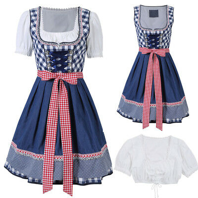 Kojooin Women Traditional Dirndl Dress Oktoberfest Beer Costume Bavarian Outfit