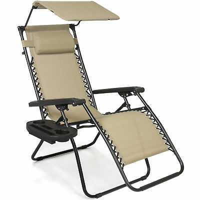 Folding Zero Gravity Recliner Lounge Chair W Canopy Shade & Magazine Cup Holder