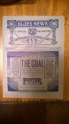 1928-29 BIRMINGHAM CITY v MANCHESTER UNITED PROGRAM