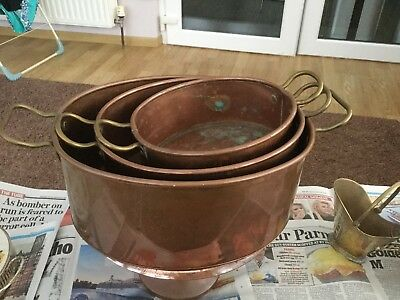 Antique copper Jam Pan Cooking Pot Planter Country Kitchen Display handles