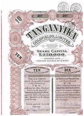 Tanganyika (Tansania) Goldfields, Ltd., 1908, warrant for 10 shares