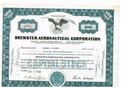 Brewster Aeronautical Corp., 1948, 100 shares