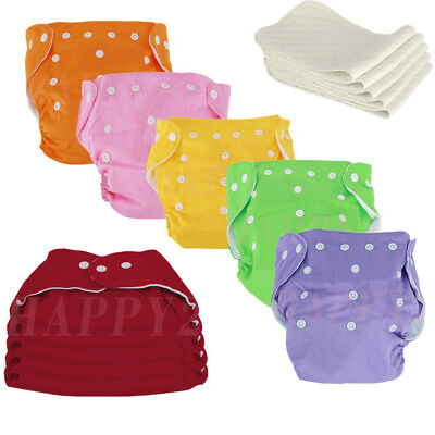 Washable Baby Diaper Nappy Covers Inserts Cloth Reusable Cotton BAMBOO CHARCOAL