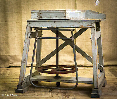 Early 20h Century Potters Wheel / Sculpture Stand / Pedestal / Work Table Bench