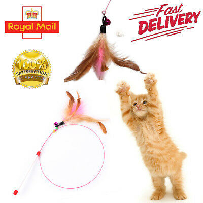 Kitten Cat Pet Toy Wire Chaser Wand Teaser Feather Bird Bell Beads Play Fun UK