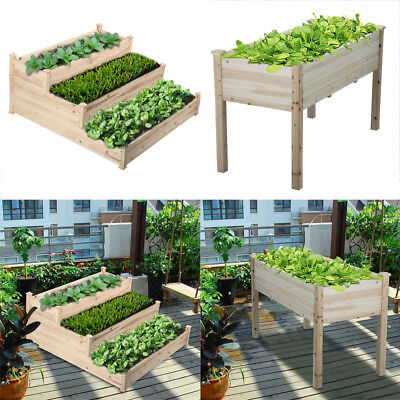 Wood Raised Vegetable Flower Garden Bed Elevated Planter Grow Plants Gardening