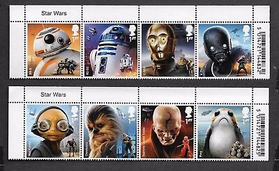 1) GB Stamps  2017 Star Wars With Name Tabs. Full Set NH Mint.