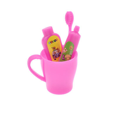 1 Set Doll Accessories Pink Tooth Cup Toothbrush Toothpaste for Barbie Girl Gift