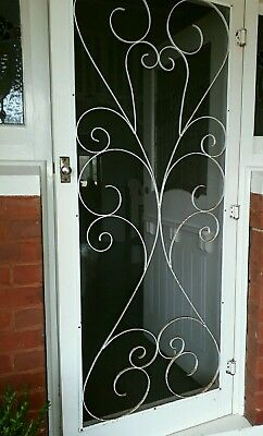 Hardwood vintage period Door , fly wire flywire curled iron