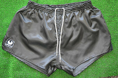 New Rare Nylon Black 1980s Vintage UHLSPORT Shorts Running short Size D(6)
